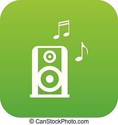 portable, speacker, vert, musique numérique, icône