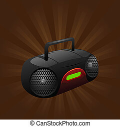 portable stereo cd player - illustration of a portable...