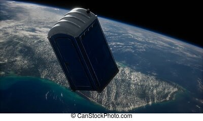 Portable street WC toilet cabin on Earth orbit. elements furnished by Nasa