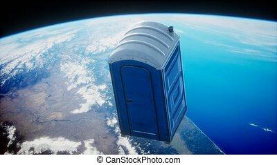 Portable street WC toilet cabin on Earth orbit. elements ...