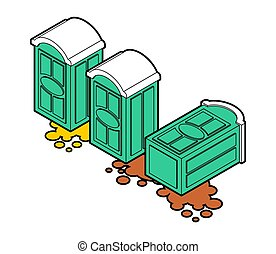 Portable toilet fell and shit leaked. vector illustration ?