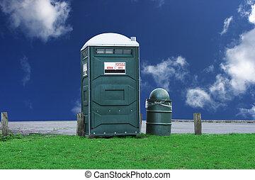 Portable toilet - portable toilet in the park