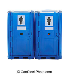 Portable toilet - Two blue plastic portable toilet cabins...