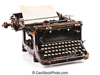 Portable Typewriter - old fashioned, vintage typewriter with...