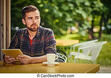 portable utilisation, cafe., homme