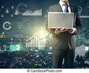portable utilisation, diagrammes, homme affaires