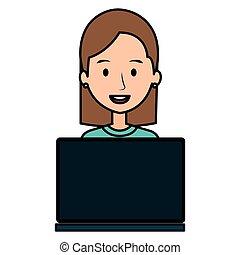 portable utilisation, femme, informatique