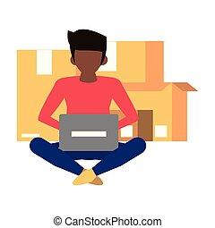portable utilisation, informatique, dessin animé, homme