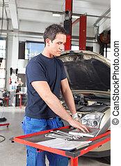 portable utilisation, mécanicien, garage