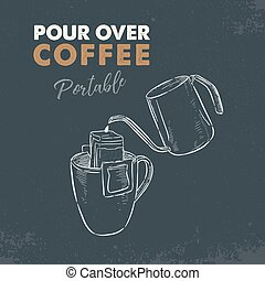 portable, vector., sur, café, verser, croquis