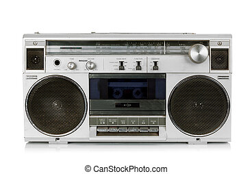 Portable vintage radio cassette recorder isolated on white
