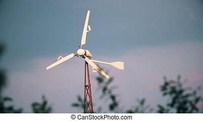 portable wind farm in your backyard, autumn day