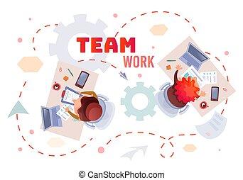 portables, collaboration, illustration, gens, fonctionnement...