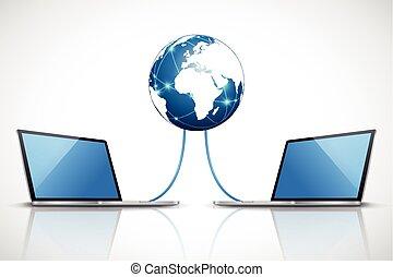 portables, connecté, à, internet