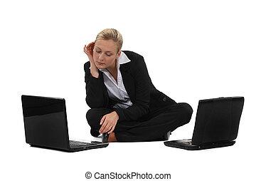 portables, femme affaires, deux