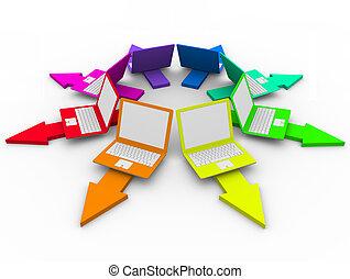 portables, -, flèches, coloré, choix