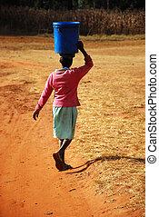 portador, áfrica, tanzania, -, pomerini, agua