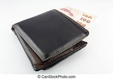 portafoglio, bianco, isolato, fondo