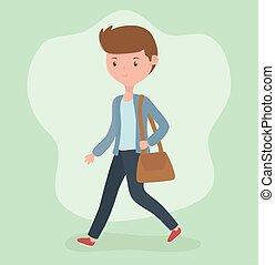 portafoglio, camminare, carattere, giovane, uomo affari
