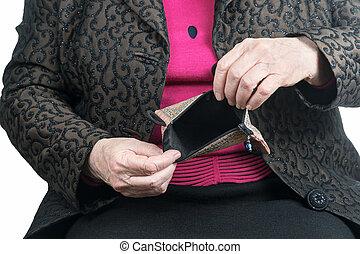 portafoglio, donna, vecchio, vuoto, mani