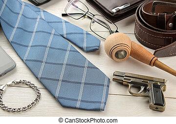 portafoglio, legno, bianco, cintura, occhiali, fumo, uomini, fondo., tubo, cravatta, accessories., style.