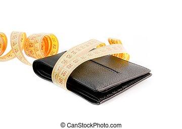 portafoglio, nastro, nero, giallo, misura
