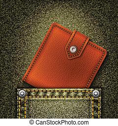 portafoglio, realistico, fondo, vettore, pocket., denim