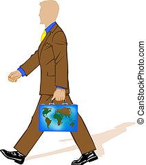 portafoglio, vettore, uomo affari, illustrazione, completo