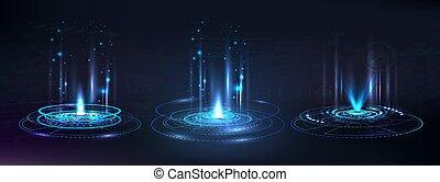 portail, éléments, hologramme, futuriste, cercle