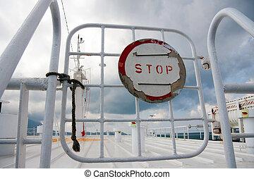 portail, arrêt, bateau, signe