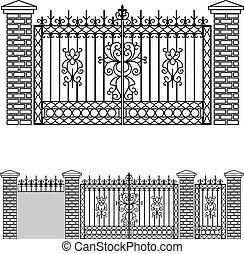portail, barrières, fer, portes