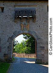portail, château, entrée