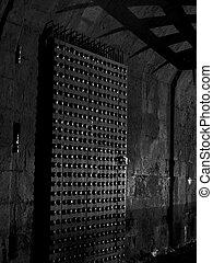 portail, château, nuit