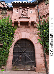 portail, château, vieux, moyen-âge
