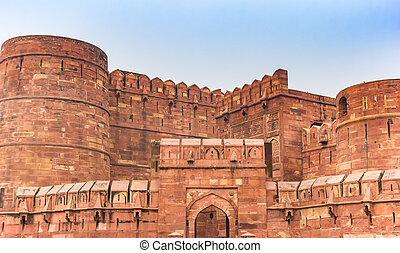 portail, delhi, fort, rouges, agra