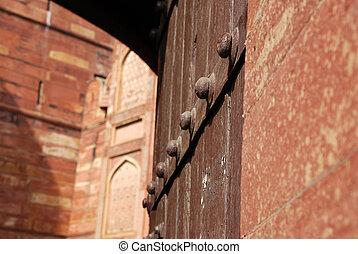 portail, entrée, agra, closeup, fort