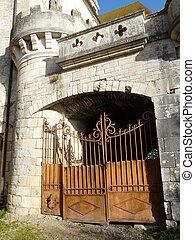 portail, entrée, moyen-âge, rouillé