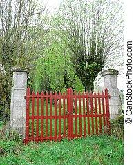 portail, entrée, rouges