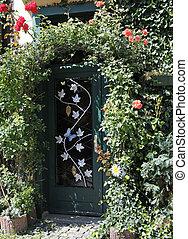 portail, envahi, jardin