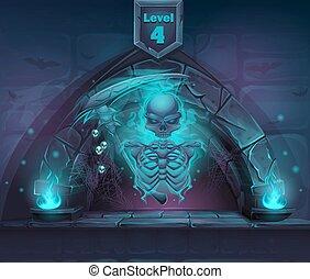 portail, faux, magie, squelette