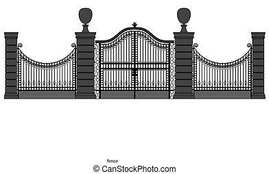 portail, fer, illustration, forgé