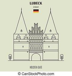 portail, germany., lubeck, holsten, repère, icône