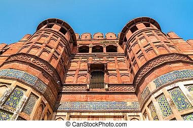 portail, héritage, inde, site, amar, unesco, singh, fort., agra