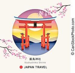 portail, itsukushima, fleur, montagnes, miyajima, blossom.,...