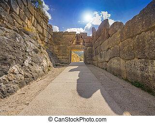 portail, lion, mycenae, grèce