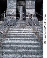 portail, pierre, escalier, fer