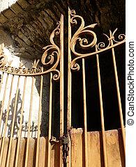 portail, rouillé, fer