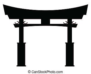 portail, silhouette, tori