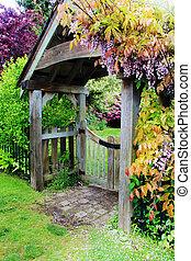 portail, wisteria, jardin, fleurir