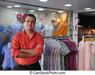 portait, av, a, försäljning butiken, ägare